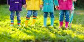 Kids In Rain Boots. Foot Wear For Children. poster