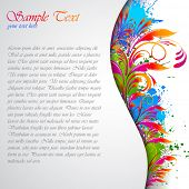 illustration of colorful abstract floral grungy card