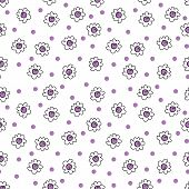 Simple Seamless Vector Background Chamomile Drawing, Purple Flowers Simple, Easy Simple Drawing Back poster
