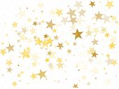 Gold Star Dust Sparkle Vector On White. Geometric Cosmic Background With Gold Star Elements Flying.  poster
