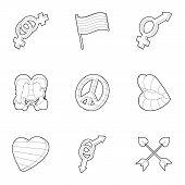 Sexual Minorities Icons Set. Outline Illustration Of 9 Sexual Minorities Icons For Web poster