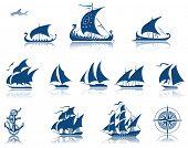 Постер, плакат: Парусные корабли растровые Iconset