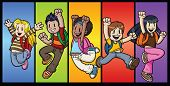 Five cool cartoon kids jumping. All characters and background in separate layers for easy editing.