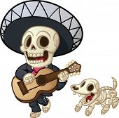 Cartoon dead mariachi walking and singing. Vector illustration with simple gradients. Mariachi and d