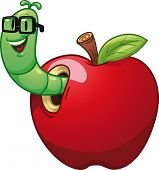 stock photo of worm  - Cartoon worm coming out of an apple - JPG