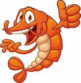 stock photo of shrimp  - Cartoon shrimp holding it - JPG