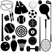Vector Sports Set : Different kinds of Balls, exercise equipments, silhouette