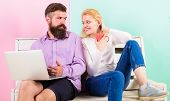 Family Spend Leisure Together. Couple With Laptop Going To Watch Movie. Couple Choosing Comedy Movie poster