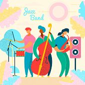 Colorful Modern Flat Characters Musical Band, Jazz, Rock, Blues Concept.musicians With Instruments,  poster