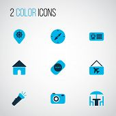 Trip Icons Colored Set With Label, Flashlight, House And Other Home Elements. Isolated Vector Illust poster