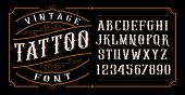 Vintage Tattoo Font On The Dark Background poster