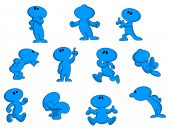 stock photo of animated cartoon  - Cartoon character in various poses - JPG