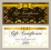 Gift Certificate Template (gift Voucher Layout, Coupon Template). Gift Card Design Example With Gold poster