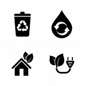 Ecology, Eco. Simple Related Vector Icons Set For Video, Mobile Apps, Web Sites, Print Projects And  poster