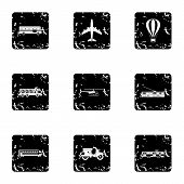 Transport For Movement Icons Set. Grunge Illustration Of 9 Transport For Movement Icons For Web poster