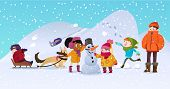 Vector Illustration Of Multiracial Kids Playing Outdoors. Girls And Boys Making Snowman In Winter, C poster