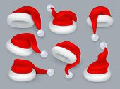 Santa Hats. Christmas 3d Santa Claus Hat, Winter Holiday Red Caps With Fur. Vector Realistic Isolate poster