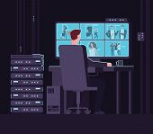 Surveillance Monitoring Room. Man Watching Surveillance Camera On Monitor In Dark Control Room. Secu poster