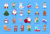 Winter Characters. Cartoon Santa, Elves And Winter Christmas Animals, Snowman And Kids. Winter Chris poster