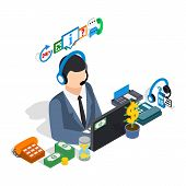 Business Consultant Clip Art. Isometric Clip Art Of Business Consultant Concept Vector Icons For Web poster