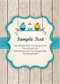 image of cupcakes  - Blue Cupcake Card - JPG