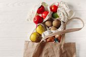 Zero Waste Food Shopping. Eco Natural Bags With Fruits And Vegetables In Tote, Eco Friendly, Flat La poster