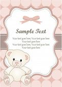 stock photo of newborn baby girl  - baby girl greeting card with teddy bear - JPG