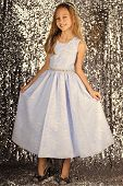 Look, Hairdresser, Makeup. Little Girl In Fashionable Dress, Prom. Child Girl In Stylish Glamour Dre poster