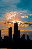 Silhouette Of Chicago Skyline Viewed From The Pier With Orange And Blue Sunset Sky In The Background poster