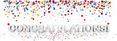 White Congratulations 3d Background With Glossy Colorful Confetti. poster