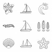Divide Icons Set. Outline Set Of 9 Divide Icons For Web Isolated On White Background poster