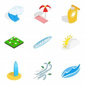 Water Adventure Icons Set. Isometric Set Of 9 Water Adventure Icons For Web Isolated On White Backgr poster