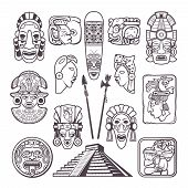 Monochrome Pictures Set Of Mayan Culture Symbols. Tribal Masks And Totems. Vector Aztec Tribal Mytho poster
