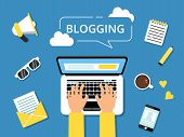 Blogging Concept Picture. Hands On Laptop And Various Tools For Writers Around. Writer Laptop Blog,  poster