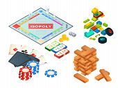 Board Games And Tools. Various Tools For Board Games. Dices, Pawns And Others. Block Pyramid Wooden, poster