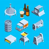 Beer Production Isometric. Vector Tools Of Brewery. Beer Production Equipment, Tank Storage And Ferm poster