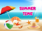 Summer Background. Vector Illustrations Of Summertime Adventures. Summertime Adventure, Summer Touri poster