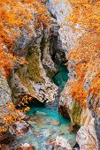 Scenic View Of Great Canyon Of Soca River Near Bovec, Slovenia At Autumn Day poster
