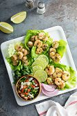 Spicy Shrimp Lettuce Wraps With Lime And Pico De Gallo poster