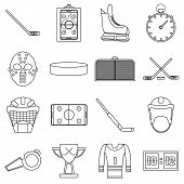 Hockey Items Icons Set. Outline Illustration Of 16 Hockey Items Icons For Web poster