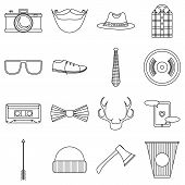 Hipster Items Icons Set. Outline Illustration Of 16 Hipster Items Icons For Web poster