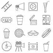 Movie Items Icons Set. Outline Illustration Of 16 Movie Items Icons For Web poster