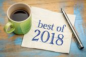 best of 2018 sign -  handwriting on a napkin with a cup of coffee poster