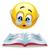 picture of reading book  - Smiling ball reading book with glasses - JPG