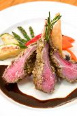 pic of lamb chops  - Crusted lamb chops served with zucchini and peppers - JPG