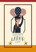 Labor Day Card With Woman Police And Balloons Vector Illustration Design poster