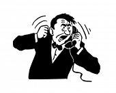 Angry Man On Phone - Retro Clipart Illustration