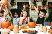 Playful kids enjoying the Halloween festival poster