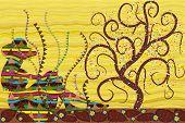 Постер, плакат: Сидящая девушка дерево абстрактный фон в стиле картины Густава Климта
