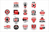 Vlog And Blog Original Logo Design Set, Video Blogging Or Video Channel Badges Vector Illustrations poster